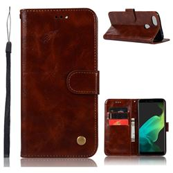Luxury Retro Leather Wallet Case for Oppo F5 - Brown
