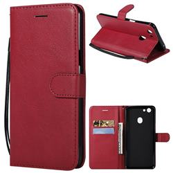 Retro Greek Classic Smooth PU Leather Wallet Phone Case for Oppo F5 - Red