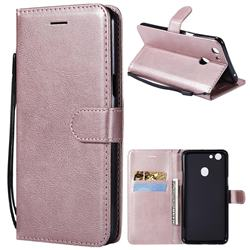 Retro Greek Classic Smooth PU Leather Wallet Phone Case for Oppo F5 - Rose Gold
