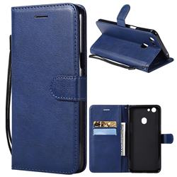 Retro Greek Classic Smooth PU Leather Wallet Phone Case for Oppo F5 - Blue