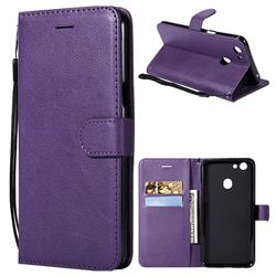 Retro Greek Classic Smooth PU Leather Wallet Phone Case for Oppo F5 - Purple
