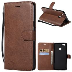 Retro Greek Classic Smooth PU Leather Wallet Phone Case for Oppo F5 - Brown