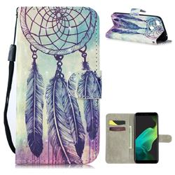 Feather Wind Chimes 3D Painted Leather Wallet Phone Case for Oppo F5