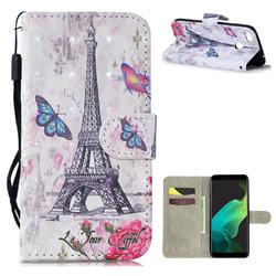 Paris Tower 3D Painted Leather Wallet Phone Case for Oppo F5