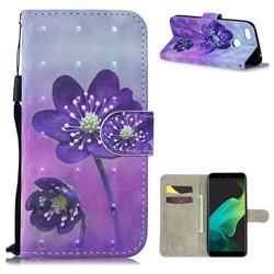 Purple Flower 3D Painted Leather Wallet Phone Case for Oppo F5