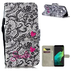 Lace Flower 3D Painted Leather Wallet Phone Case for Oppo F5
