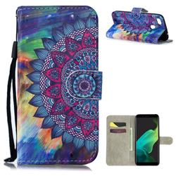 Oil Painting Mandala 3D Painted Leather Wallet Phone Case for Oppo F5