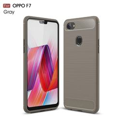 Luxury Carbon Fiber Brushed Wire Drawing Silicone TPU Back Cover for Oppo F7 - Gray