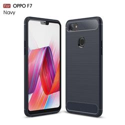 Luxury Carbon Fiber Brushed Wire Drawing Silicone TPU Back Cover for Oppo F7 - Navy