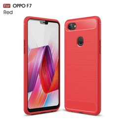 Luxury Carbon Fiber Brushed Wire Drawing Silicone TPU Back Cover for Oppo F7 - Red