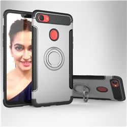Armor Anti Drop Carbon PC + Silicon Invisible Ring Holder Phone Case for Oppo F7 - Silver