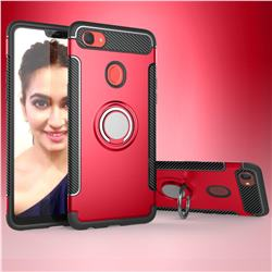 Armor Anti Drop Carbon PC + Silicon Invisible Ring Holder Phone Case for Oppo F7 - Red
