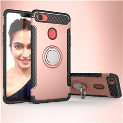 Armor Anti Drop Carbon PC + Silicon Invisible Ring Holder Phone Case for Oppo F7 - Rose Gold