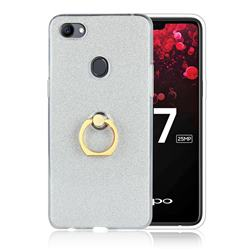 Luxury Soft TPU Glitter Back Ring Cover with 360 Rotate Finger Holder Buckle for Oppo F7 - White