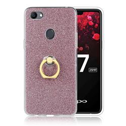 Luxury Soft TPU Glitter Back Ring Cover with 360 Rotate Finger Holder Buckle for Oppo F7 - Pink