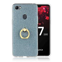 Luxury Soft TPU Glitter Back Ring Cover with 360 Rotate Finger Holder Buckle for Oppo F7 - Blue