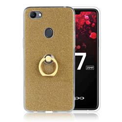 Luxury Soft TPU Glitter Back Ring Cover with 360 Rotate Finger Holder Buckle for Oppo F7 - Golden