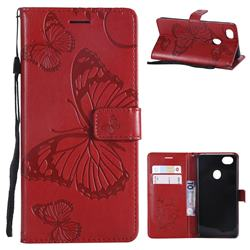 Embossing 3D Butterfly Leather Wallet Case for Oppo F7 - Red