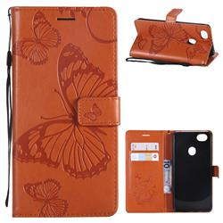 Embossing 3D Butterfly Leather Wallet Case for Oppo F7 - Orange