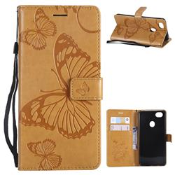 Embossing 3D Butterfly Leather Wallet Case for Oppo F7 - Yellow