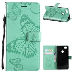 Embossing 3D Butterfly Leather Wallet Case for Oppo F7 - Green