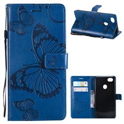 Embossing 3D Butterfly Leather Wallet Case for Oppo F7 - Blue