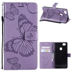 Embossing 3D Butterfly Leather Wallet Case for Oppo F7 - Purple