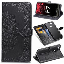 Embossing Imprint Mandala Flower Leather Wallet Case for Oppo F7 - Black