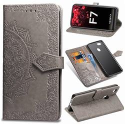 Embossing Imprint Mandala Flower Leather Wallet Case for Oppo F7 - Gray