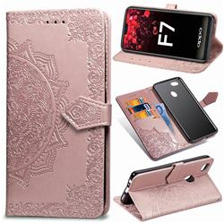 Embossing Imprint Mandala Flower Leather Wallet Case for Oppo F7 - Rose Gold