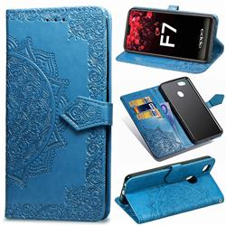 Embossing Imprint Mandala Flower Leather Wallet Case for Oppo F7 - Blue