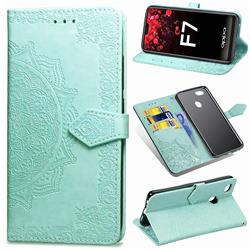 Embossing Imprint Mandala Flower Leather Wallet Case for Oppo F7 - Green