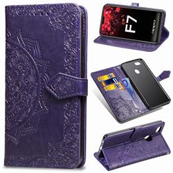Embossing Imprint Mandala Flower Leather Wallet Case for Oppo F7 - Purple