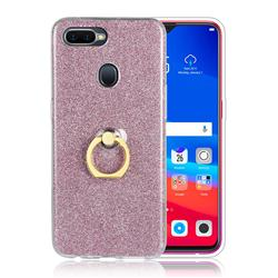 Luxury Soft TPU Glitter Back Ring Cover with 360 Rotate Finger Holder Buckle for Oppo F9 (F9 Pro) - Pink