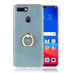 Luxury Soft TPU Glitter Back Ring Cover with 360 Rotate Finger Holder Buckle for Oppo F9 (F9 Pro) - Blue