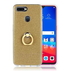 Luxury Soft TPU Glitter Back Ring Cover with 360 Rotate Finger Holder Buckle for Oppo F9 (F9 Pro) - Golden