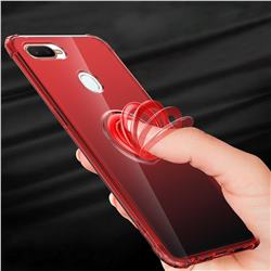 Anti-fall Invisible Press Bounce Ring Holder Phone Cover for Oppo F9 (F9 Pro) - Noble Red