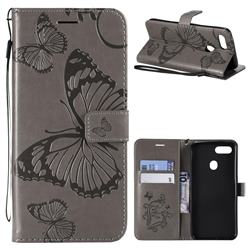 Embossing 3D Butterfly Leather Wallet Case for Oppo F9 (F9 Pro) - Gray