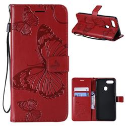 Embossing 3D Butterfly Leather Wallet Case for Oppo F9 (F9 Pro) - Red