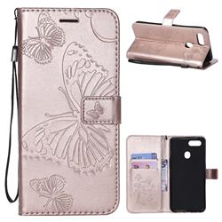 Embossing 3D Butterfly Leather Wallet Case for Oppo F9 (F9 Pro) - Rose Gold