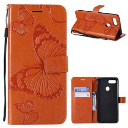 Embossing 3D Butterfly Leather Wallet Case for Oppo F9 (F9 Pro) - Orange