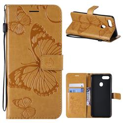 Embossing 3D Butterfly Leather Wallet Case for Oppo F9 (F9 Pro) - Yellow