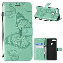 Embossing 3D Butterfly Leather Wallet Case for Oppo F9 (F9 Pro) - Green
