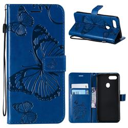 Embossing 3D Butterfly Leather Wallet Case for Oppo F9 (F9 Pro) - Blue