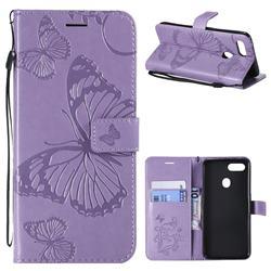 Embossing 3D Butterfly Leather Wallet Case for Oppo F9 (F9 Pro) - Purple