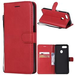 Retro Greek Classic Smooth PU Leather Wallet Phone Case for Oppo F9 (F9 Pro) - Red