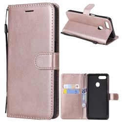 Retro Greek Classic Smooth PU Leather Wallet Phone Case for Oppo F9 (F9 Pro) - Rose Gold