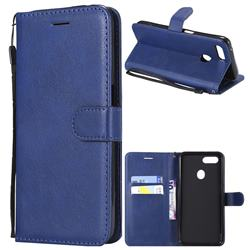 Retro Greek Classic Smooth PU Leather Wallet Phone Case for Oppo F9 (F9 Pro) - Blue
