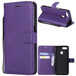 Retro Greek Classic Smooth PU Leather Wallet Phone Case for Oppo F9 (F9 Pro) - Purple
