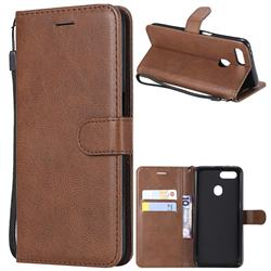 Retro Greek Classic Smooth PU Leather Wallet Phone Case for Oppo F9 (F9 Pro) - Brown